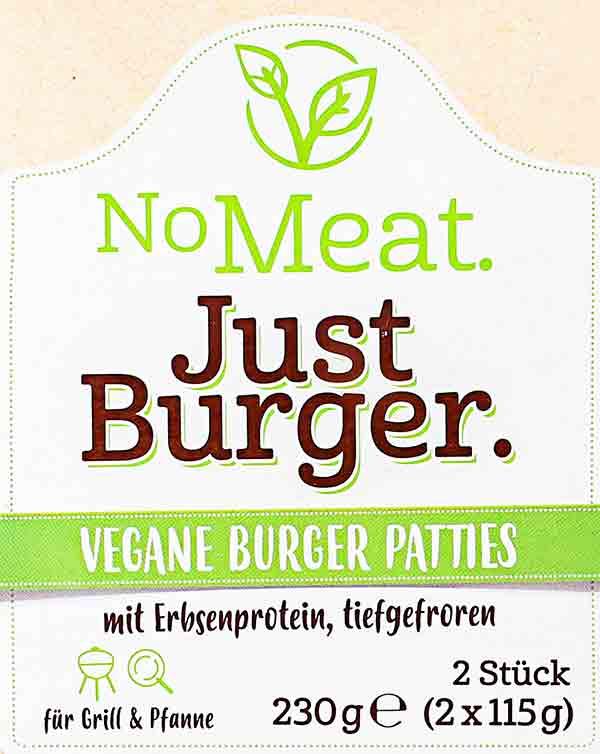No Meat Just Burger Logo von der Verpackung
