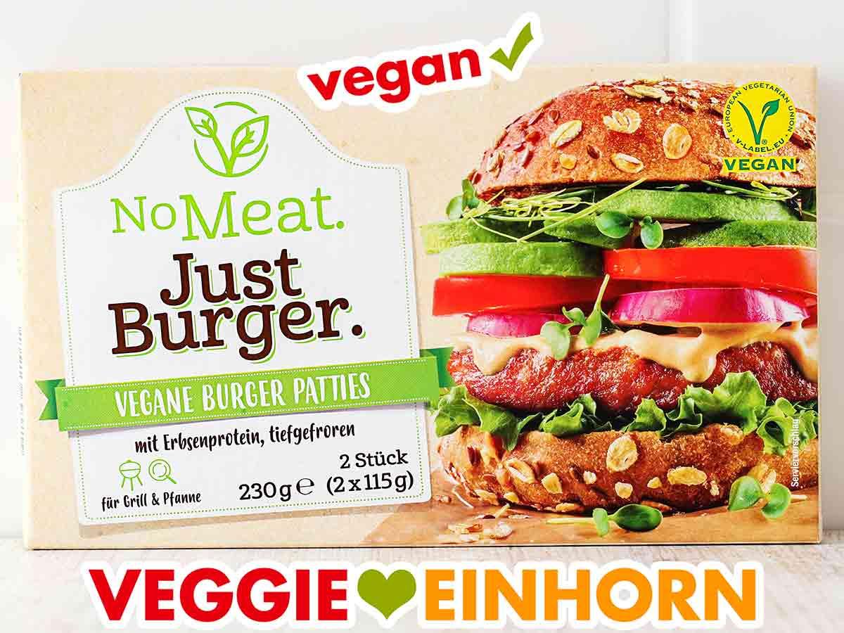 Eine Packung tiefgefrorene No Meat Just Burger
