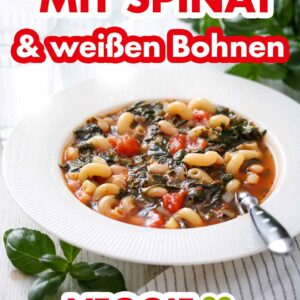Nudelsuppe mit Spinat und weißen Bohnen