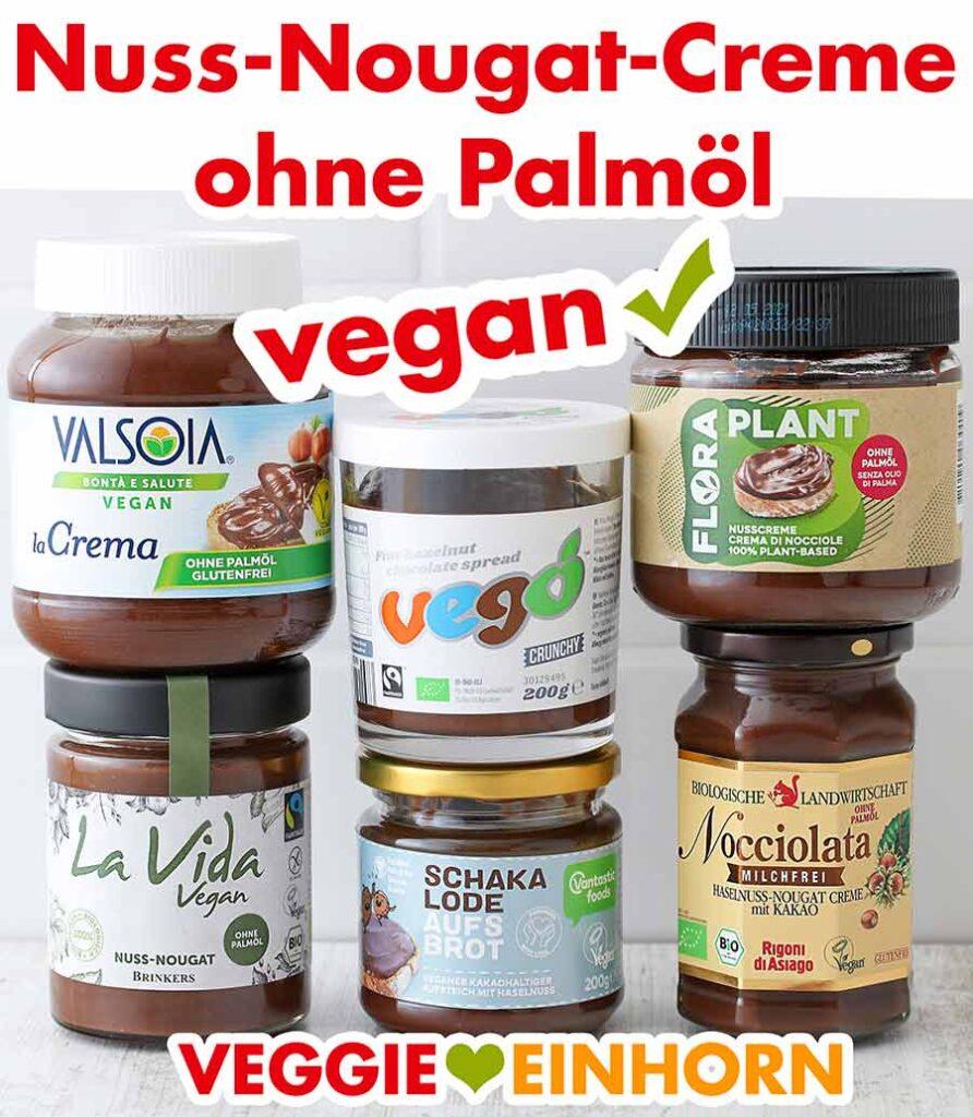 Sechs Gläser mit Nutella Alternativen ohne Palmöl