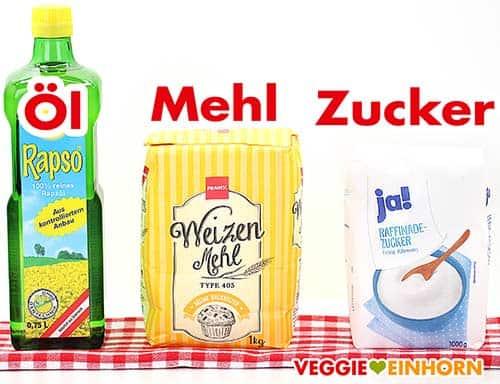 Rapsöl, Mehl und Zucker