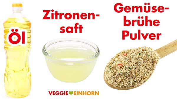 Öl, Zitronensaft und Gemüsebrühe Pulver