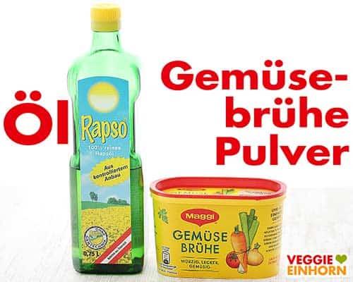 Eine Flasche Rapsöl und eine Packung vegane Gemüsebrühe