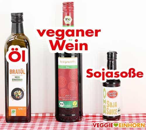 Öl, veganer Rotwein und Sojasoße
