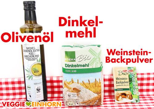 Olivenöl, Dinkelmehl Type 630, Weinsteinbackpulver