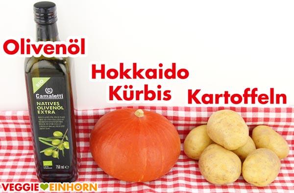Olivenöl, Hokkaido Kürbis, Kartoffeln
