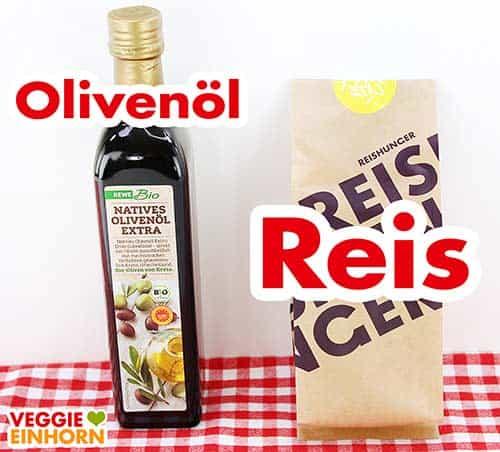 Olivenöl und eine Packung Paella Reis