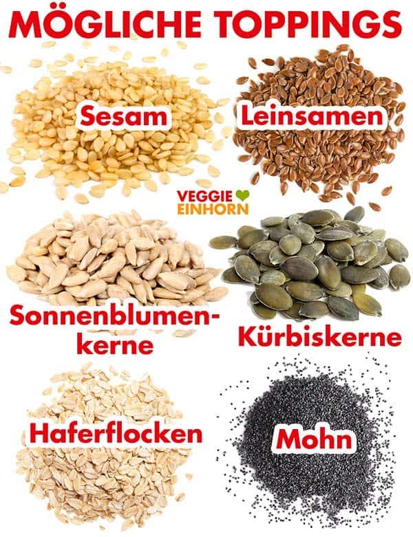 Sesamsamen, Leinsamen, Sonnenblumenkerne, Kürbiskerne