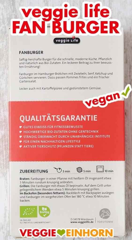 Rückseite der Packung (Veggie Life Fanburger)