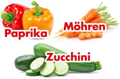 Paprika, Möhren und Zucchini für Paella