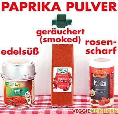 Paprika edelsüß, Smoked Paprika Pulver und Paprika rosenscharf