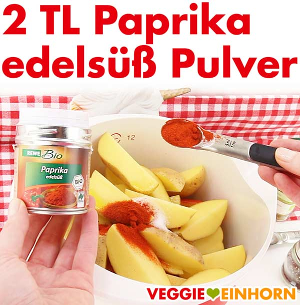 Paprika edelsüß Pulver zum Würzen der Kürbis und Kartoffel Spalten