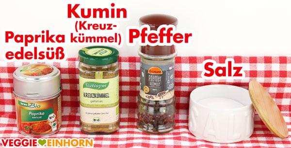Gewürze - Paprika edelsüß, Kumin Kreuzkümmel, Pfeffer, Salz