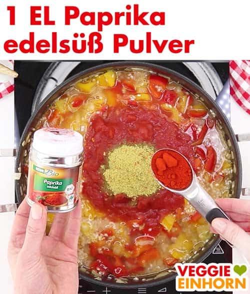 Paella würzen mit Paprika edelsüß Pulver