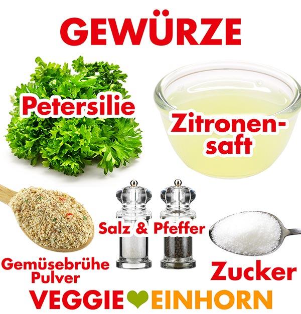 Petersilie, Zitronensaft, Gemüsebrühe Pulver, Salz und Pfeffer, Zucker