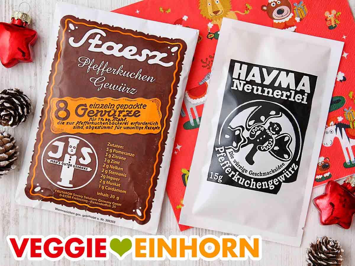 Zwei Tüten Pfefferkuchengewürz von Staesz und Hayma Neunerlei
