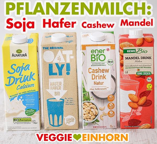 Vier Packungen Pflanzenmilch