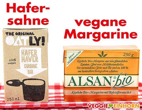 Oatly Hafersahne und vegane Margarine
