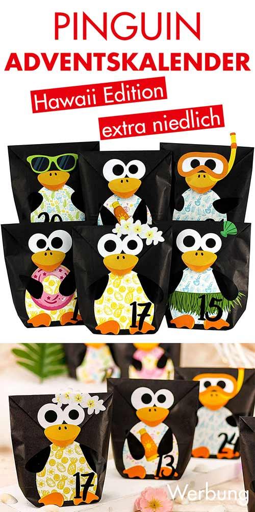 Hawaii Pinguin Adventskalender zum Befüllen