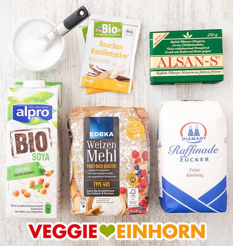 Salz, Vanillezucker, vegane Margarine, Sojamilch, Weizenmehl, Zucker