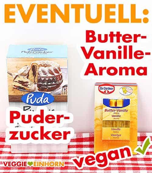 Puderzucker und Backaroma Butter-Vanille