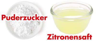 Puderzucker und Zitronensaft für Zitronenglasur