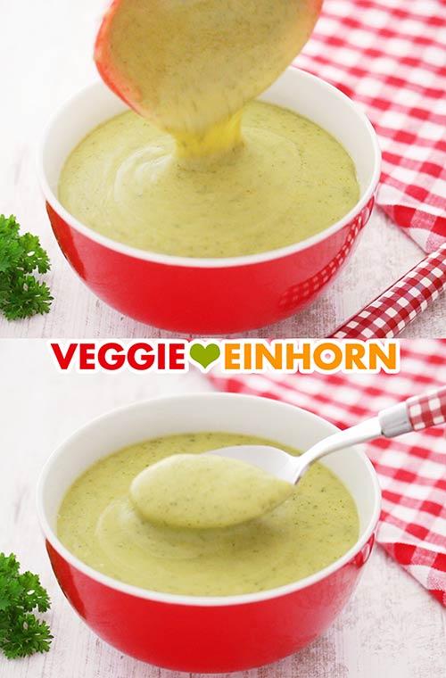 Pürierte Vegane Cremesuppe mit Zucchini und Kartoffeln