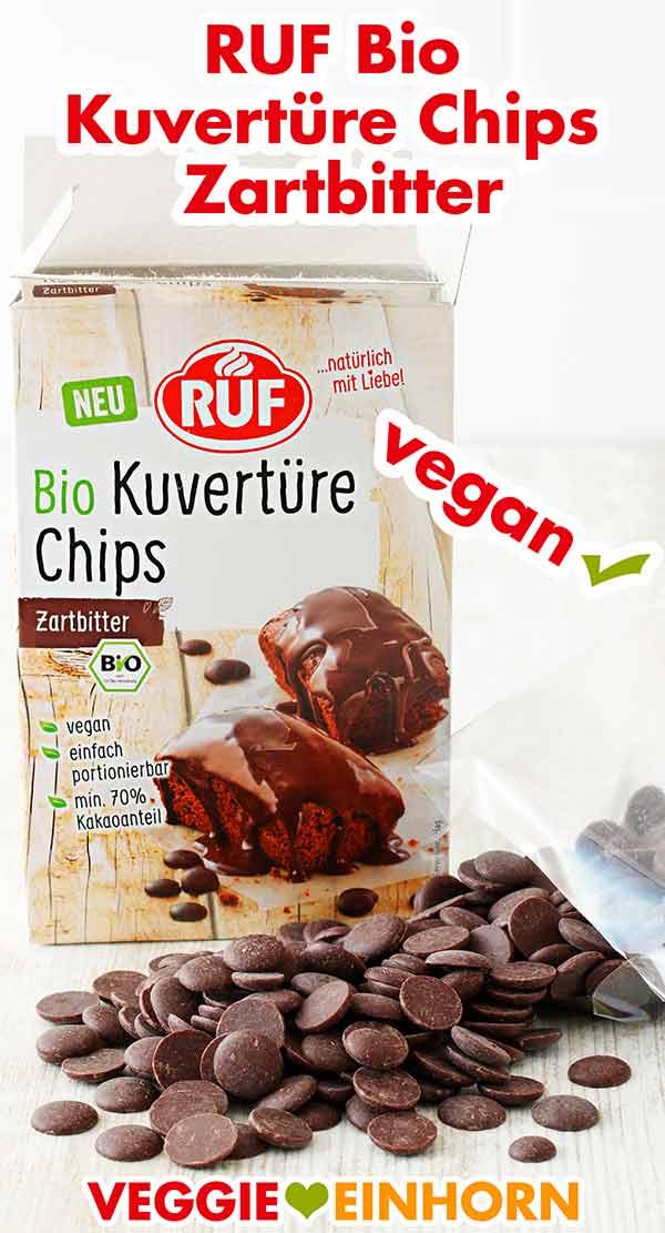 Eine Packung vegane Kuvertüre Chips von RUF