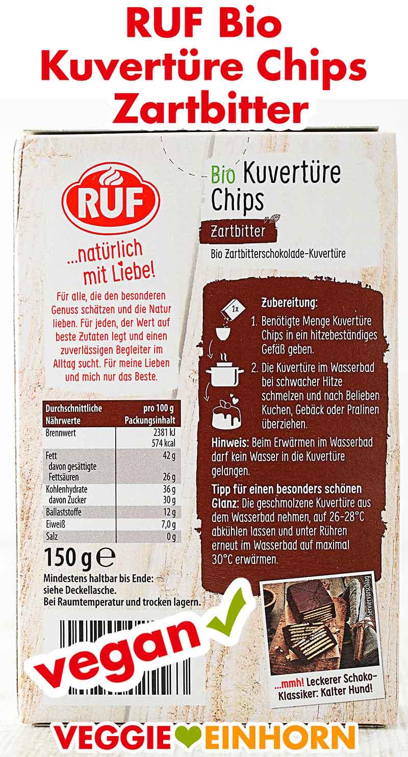 Rückseite der Verpackung von RUF Bio Kuvertüre Chips