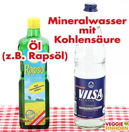 Rapsöl und Mineralwasser