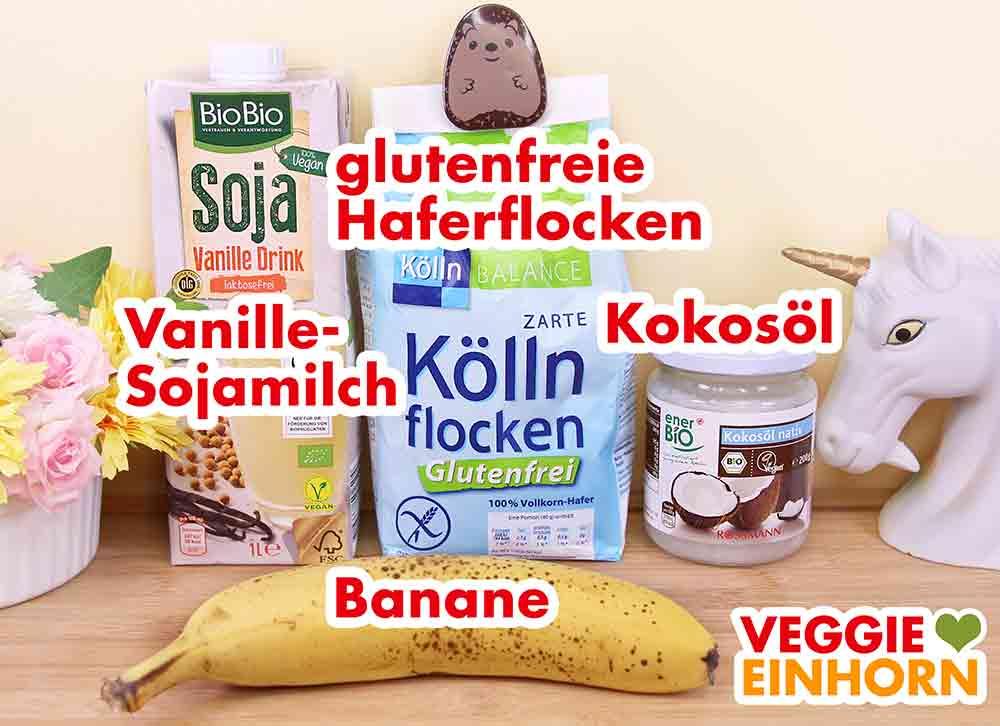 Verwendete Produkte für Bananen Haferflocken Pancakes