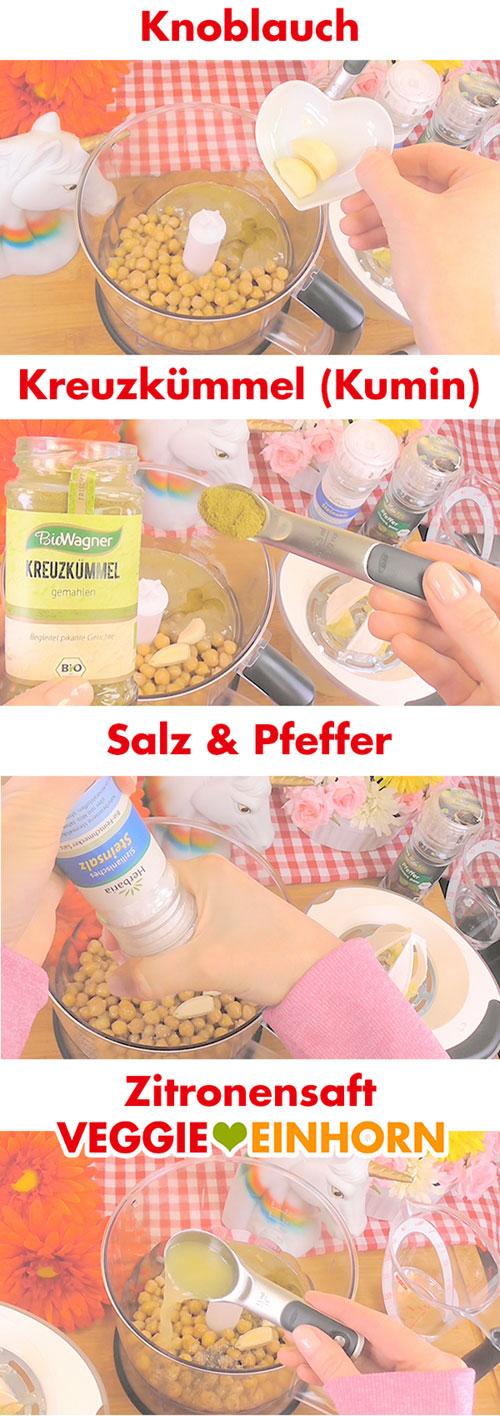 Gewürze und Zitronensaft zufügen