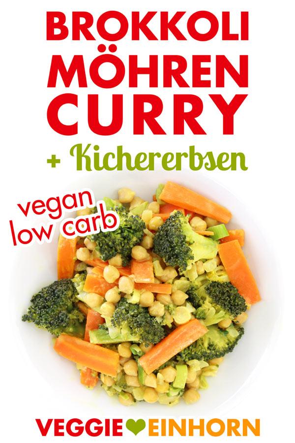 Curry mit Brokkoli und Möhren auf einem Teller
