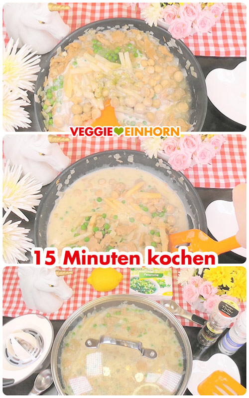 Leckeres VEGANES HÜHNERFRIKASSEE | Schnelles Rezept mit Erbsen, Spargel und Champignons | Veganes Hähnchenfilet und Rice Cuisine Reis-Sahne | Einfach vegan kochen | mit VIDEO #VeggieEinhorn