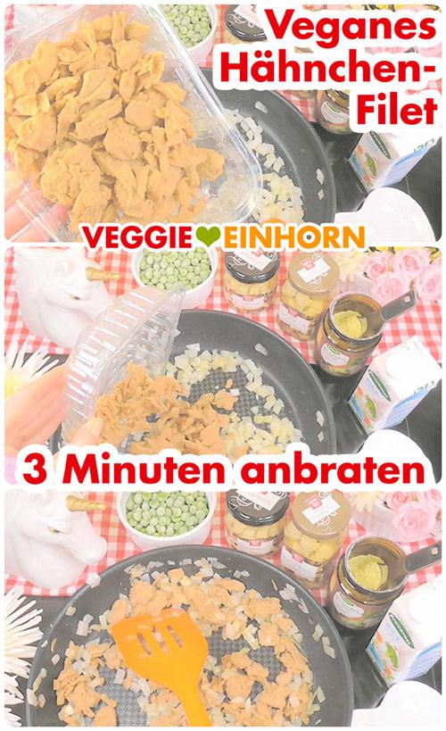 Leckeres VEGANES Hühnerfrikassee | Schnelles Rezept mit Erbsen, Spargel und Champignons | LikeMeat Vegane Filetstücke Hähnchen-Art | Einfach vegan kochen | mit VIDEO #VeggieEinhorn