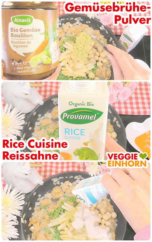 Leckeres VEGANES Hühnerfrikassee | Schnelles Rezept mit Erbsen, Spargel und Champignons | Rice Cuisine | Einfach vegan kochen | mit VIDEO #VeggieEinhorn