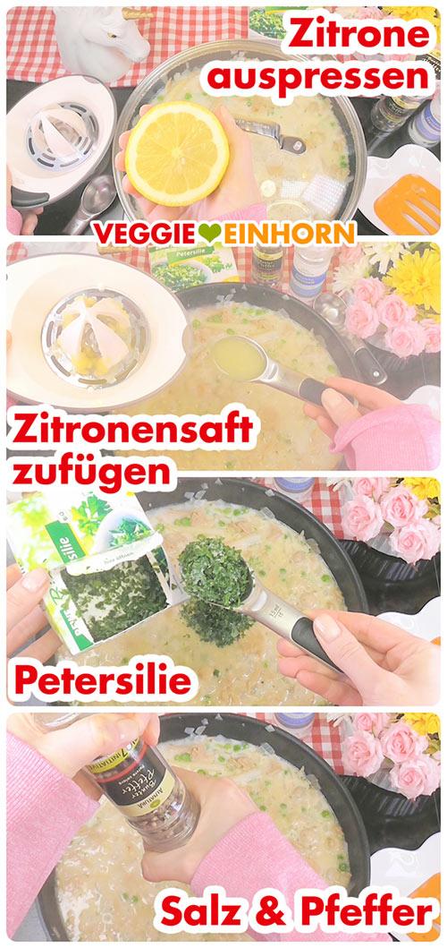 Rezept Veganes Hühnerfrikassee | Schritt für Schritt Foto Anleitung | abschmecken mit Zitronensaft, Petersilie, Salz und Pfeffer