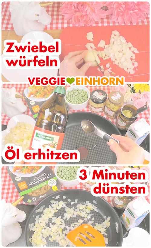 Rezept Veganes Hühnerfrikassee | Schritt für Schritt Foto Anleitung | Zwiebel andünsten