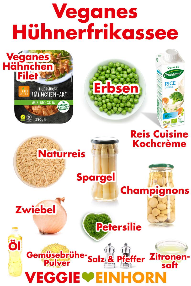 Veganes Hühnerfrikassee | Einfaches Rezept für VEGANES Hühnerfrikassee mit Reis, Spargel, Champignons und Erbsen. Schnelles veganes Mittagessen oder Abendessen. Vegan und glutenfrei. Mit veganen Filetstücken Hähnchen-Art. Einfach vegan kochen: Rezept mit VIDEO und Schritt für Schritt Anleitung. #VeggieEinhorn