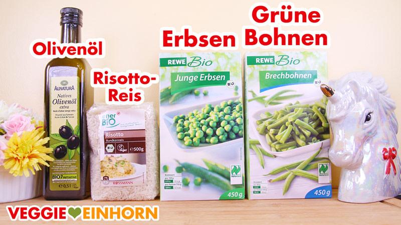 Risottoreis, tiefgekühlte Erbsen, grüne Bohnen