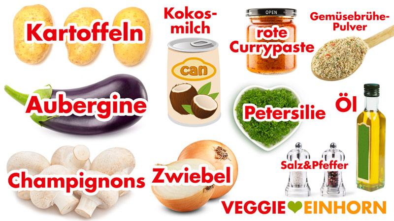 Aubergine, Champignons, Kartoffeln, Kokosmilch, vegane rote Currypaste