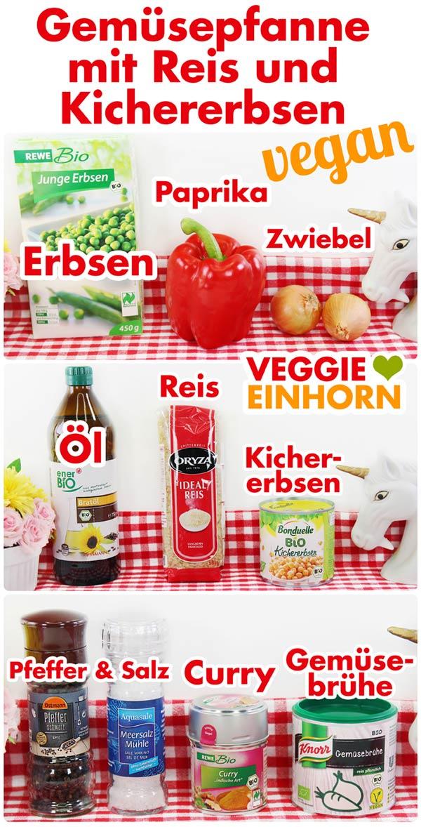 Verwendete Produkte für Gemüsepfanne mit Reis und Kichererbsen