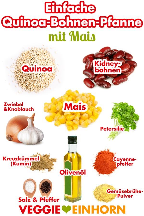 Einfache QUINOA-BOHNEN-MAIS Pfanne | Schnelles veganes Rezept | glutenfrei + ohne Soja | REZEPT mit VIDEO
