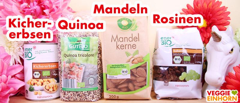 Kichererbsen aus der Dose, Quinoa, Mandeln, Rosinen