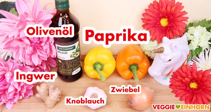 Olivenöl, Paprika, Ingwer, Knoblauch, Zwiebel