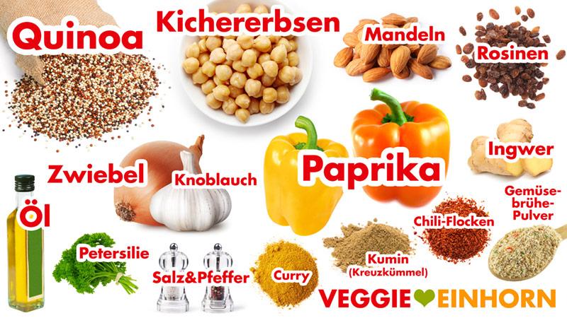 Quinoa, Kichererbsen, Mandeln, Rosinen, Paprika