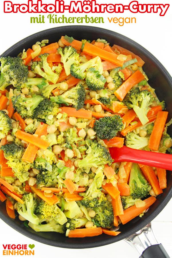 Brokkoli-Möhren-Curry mit Kichererbsen und Kokosmilch