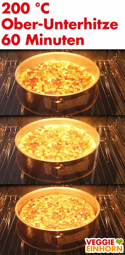 Rhabarberkuchen im Backofen