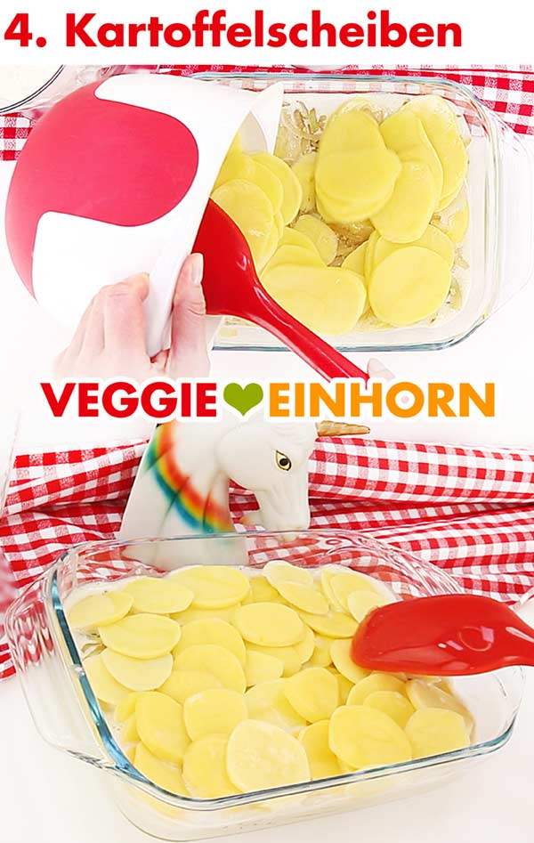 Rohe Kartoffelscheiben für veganes Kartoffelgratin