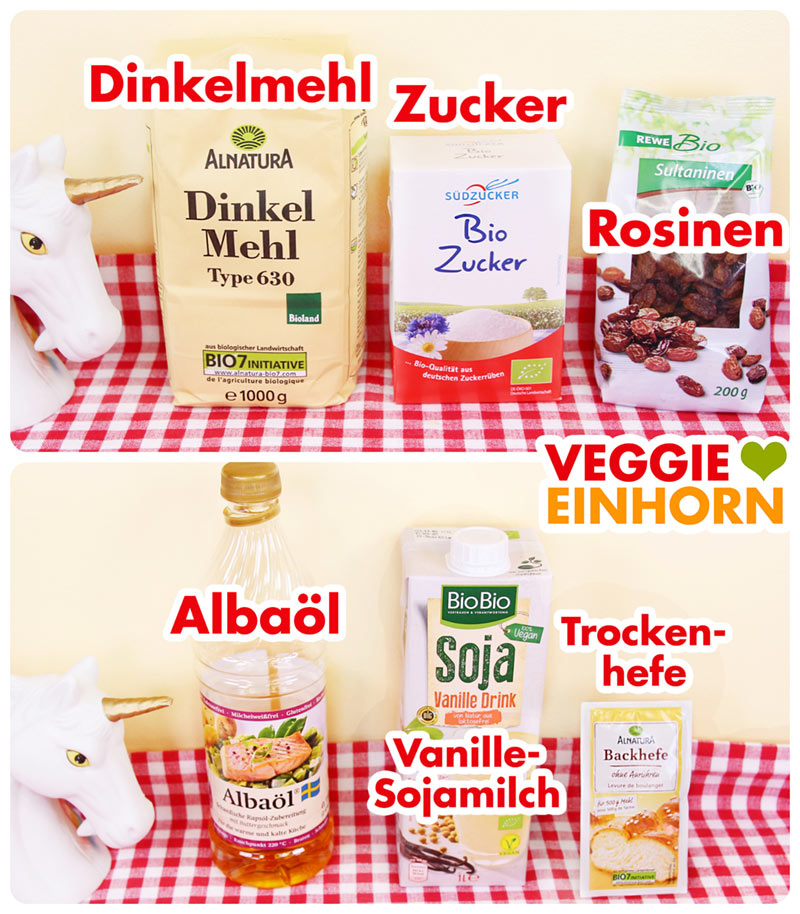 Dinkelmehl, Zucker, Rosinen, Albaöl, Vanille-Sojamilch, Trockenhefe